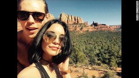 Actor Vanessa Hudgens and boyfriend Austin Butler (left) visit Sedona, Arizona.