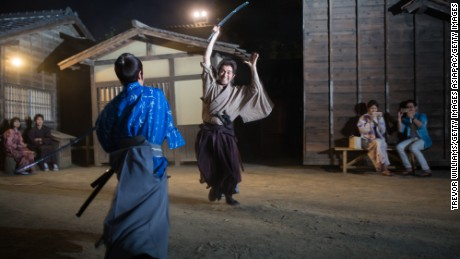 Samurai actors perform sword fights at the Toei Kyoto Studio Park.