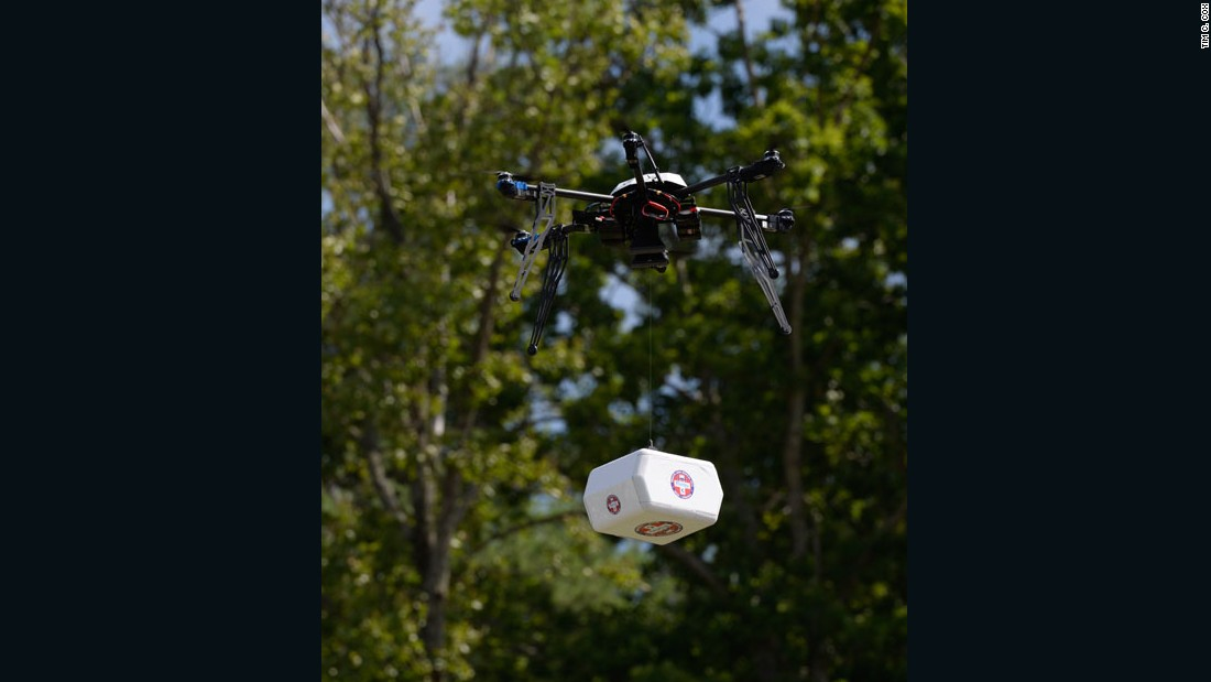 In 2015, the first use of drones to collect medical supplies and transport them over rugged terrain in the state of Virginia was approved by the U.S. government. Pictured, a Flirtey non-military drone delivering medical supplies in Wise County, Virginia.