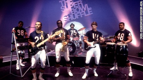 Chicago Bears players film the music video for the Super Bowl Shuffle in 1985.