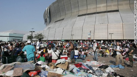 The Superdome in New Orleans became a shelter of last resort for thousands during Hurricane Katrina.