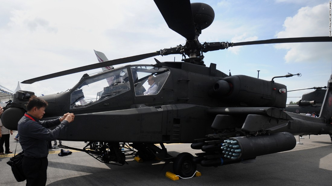 AH-64D Apache Longbow helicopter on display by the Singapore Air Force during the Singapore Airshow on February 17.