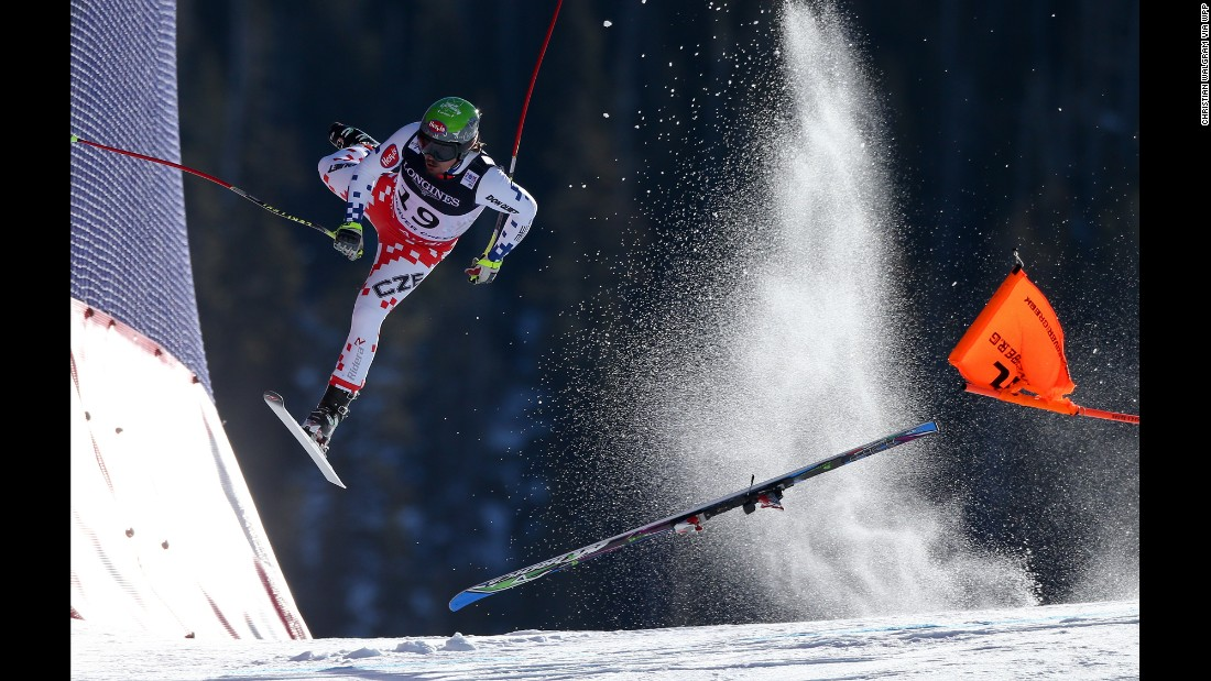 Czech skier Ondrej Bank crashes during the downhill portion of the Alpine Combined as he competes at the FIS World Championships on February 15.
