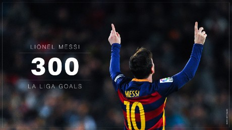 Messi's 300 La Liga goals have come in just 335 league appearances for Barca.