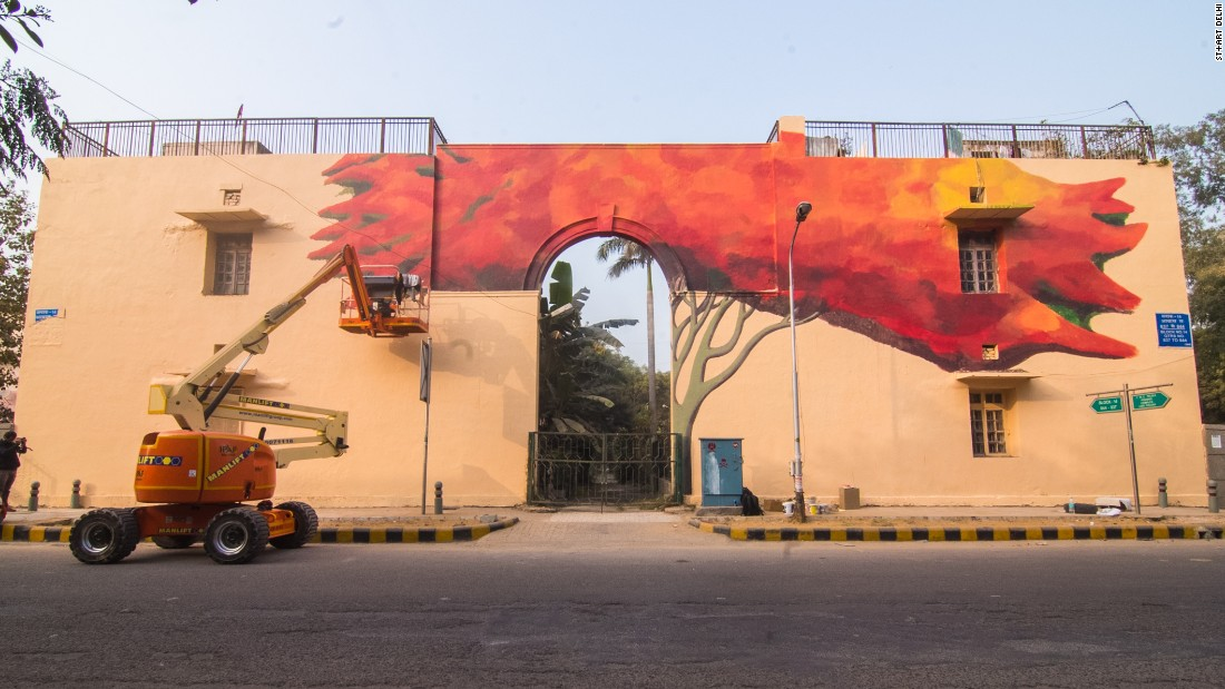 """Lava Tree"" by Anpu Varkey.<br /><br />The festival invites both international and local artists, like Anpu, in order to stimulate creative dialogue. ""Indian street art scene is still very nascent and we need the support of the international artist community, to come and work with Indian artists, to collaborate, share knowledge...so that the Indian artists can also grow,"" says Bahl. <em>(Photograph by Akshat Nauriyal)</em>"
