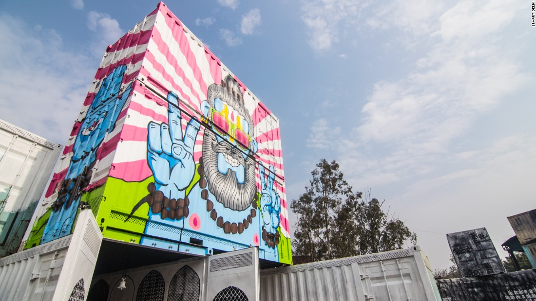 Artist Harsh Raman painted two shipping containers at the Inland Container Depot in his signature style, which is bold, colorful and whimsical. <em>(Photograph by Akshat Nauriyal)</em>