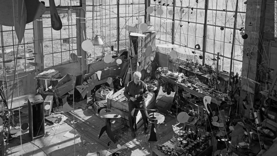 American artist Alexander Calder, seen here in his studio in 1955, was one of the most prolific sculptors of the 20th century.