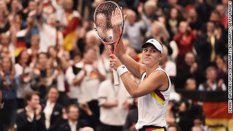 LEIPZIG, GERMANY - FEBRUARY 06:  Angelique Kerber of Germany celebrates victory in her match against Timea Bacsinszky of Switzerland during Day 1 of the 2016 Fed Cup World Group First Round match between Germany and Switzerland at Messe Leipzig on February 6, 2016 in Leipzig, Germany.  (Photo by Dennis Grombkowski/Bongarts/Getty Images)