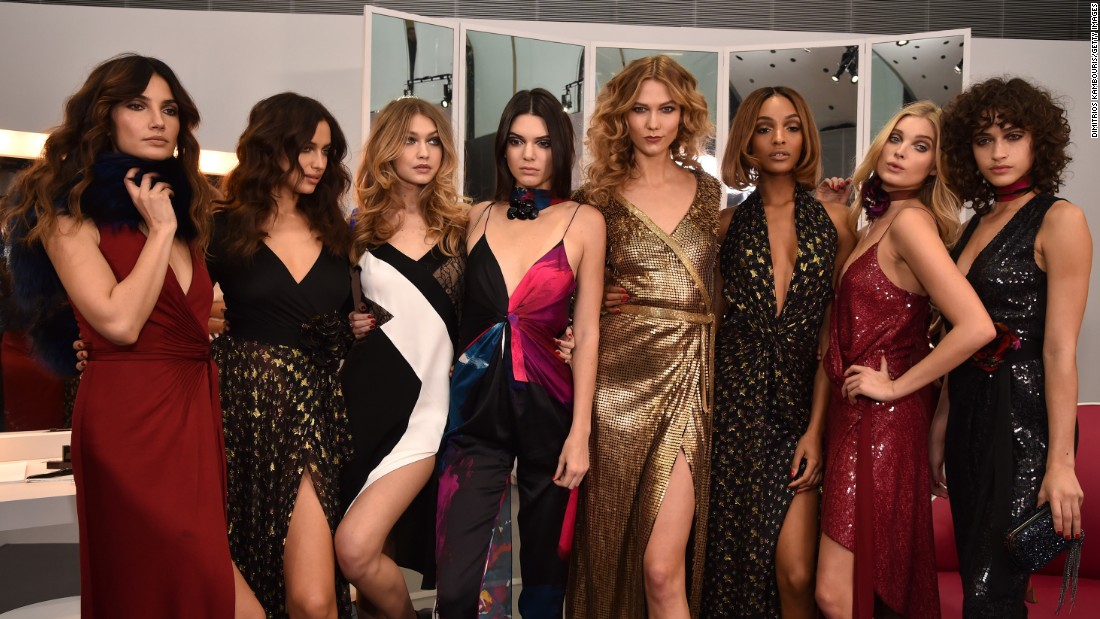 Lily Aldridge, Irina Shayk, Gigi Hadid, Kendall Jenner, Karlie Kloss, Jourdan Dunn, Elsa Hosk and Alanna Arrington (left to right) pose in Diane Von Furstenberg's fall 2016 show.