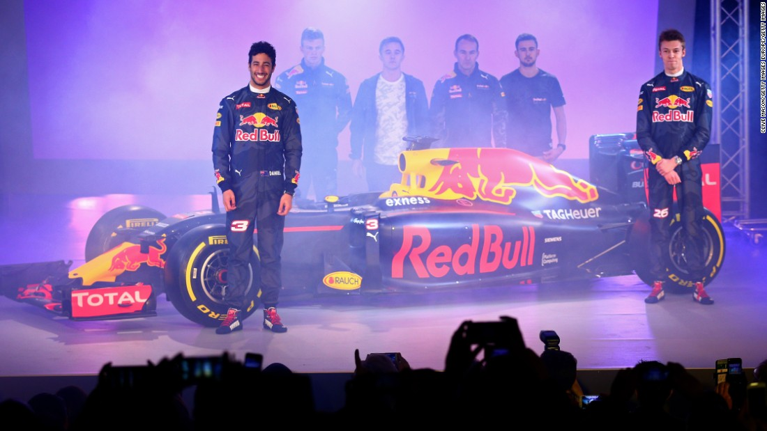 Drivers Daniel Ricciardo (left) and Daniil Kvyat (right) were kitted out in camouflage race suits for the launch but hope they won't have to hide on track during the 2016 season, which begins on March 20.