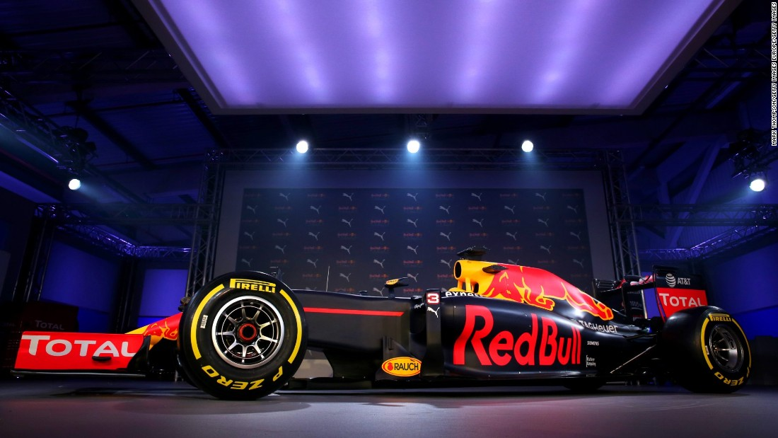 The Red Bull Formula One team breaks cover in 2016, introducing the livery for the new RB12 racer on a freezing February day in East London.