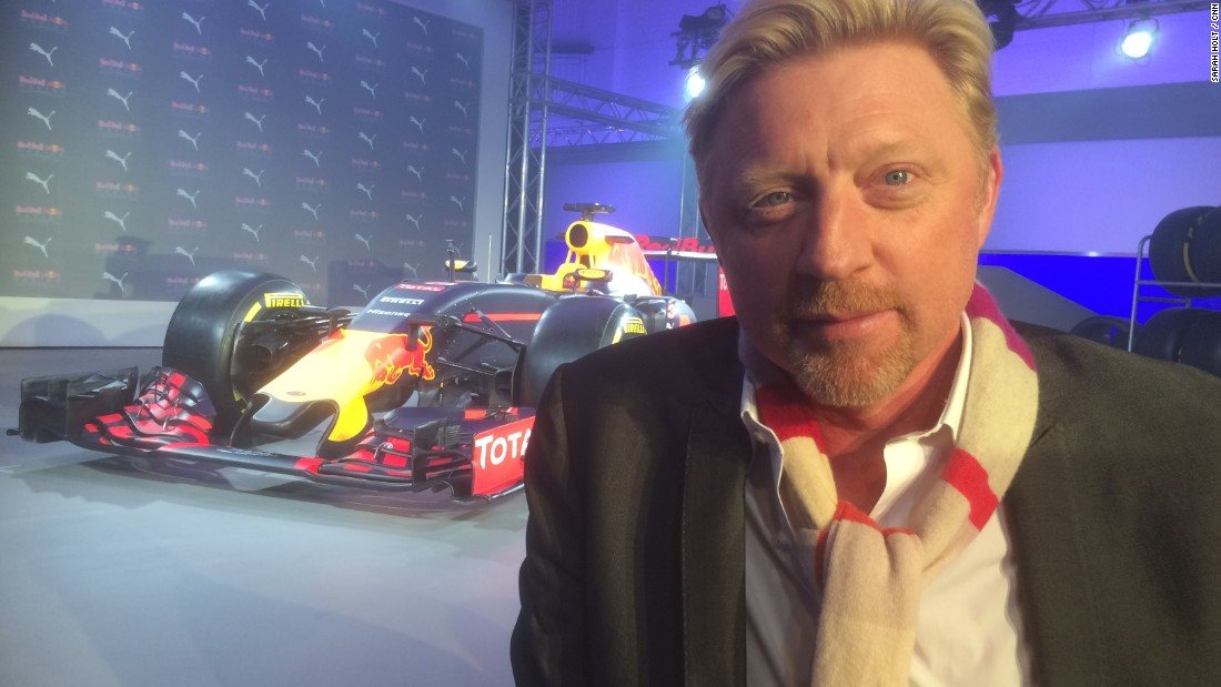 Formula One super-fan Boris Becker attended the Red Bull car launch and the grand slam winner turned tennis coach was happy to pose for this photo especially for CNN!