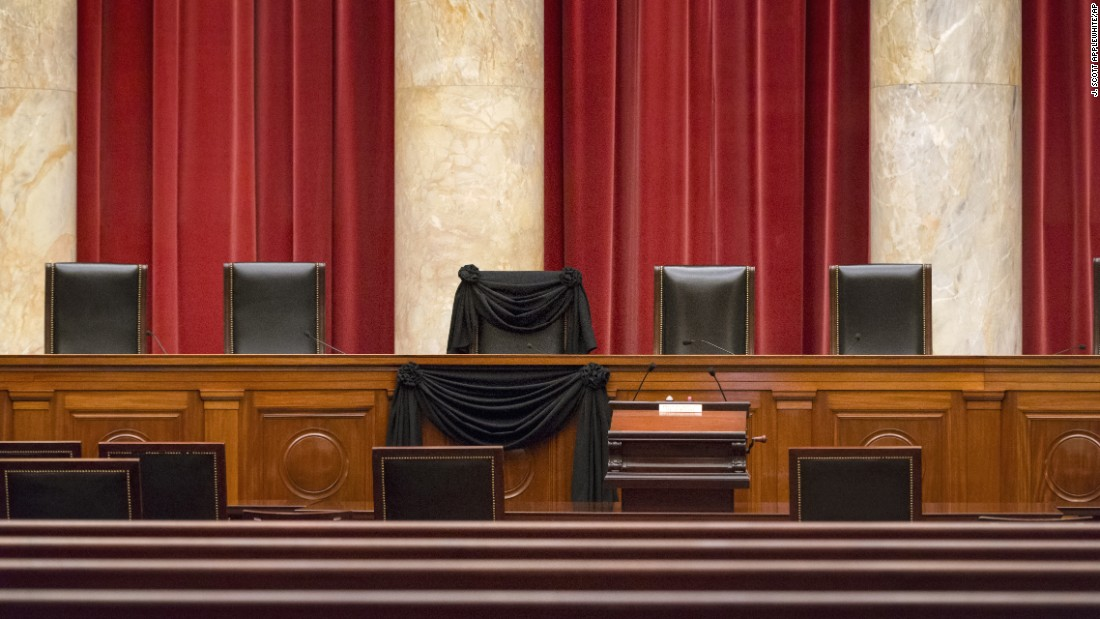 "The chair of Supreme Court Justice Antonin Scalia is draped in black Tuesday, February 16, in Washington. <a href=""http://www.cnn.com/2016/02/13/politics/supreme-court-justice-antonin-scalia-dies-at-79/"" target=""_blank"">He died several days earlier</a> at the age of 79."