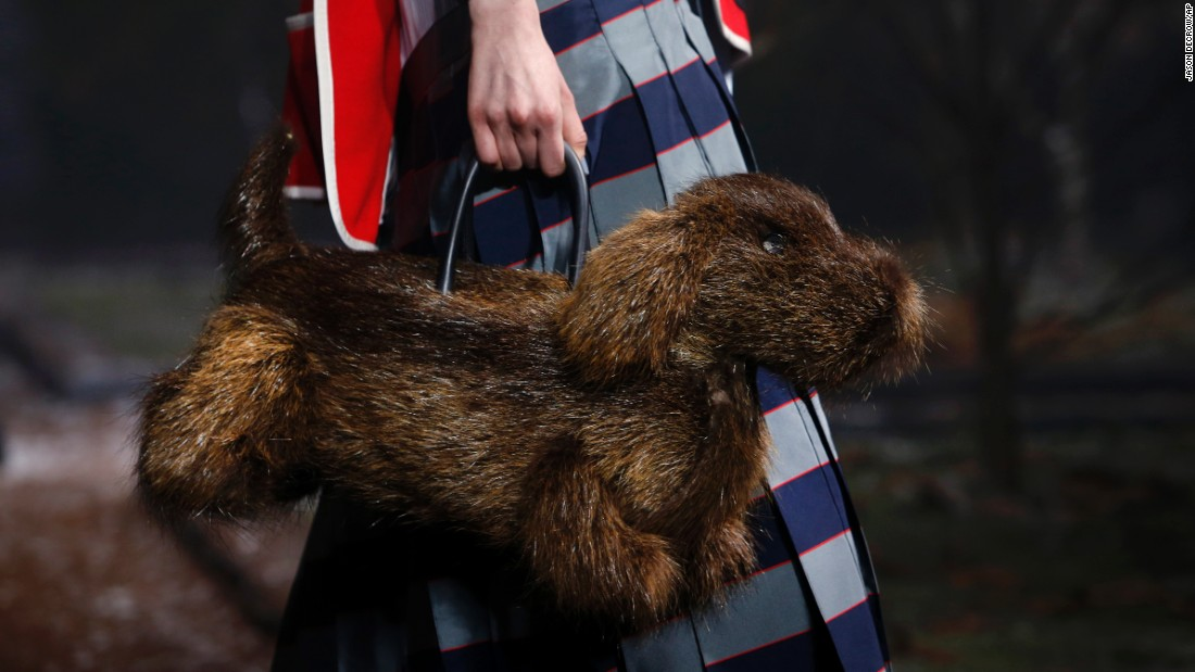 A Thom Browne purse resembles a dog Monday, February 15, during New York Fashion Week.