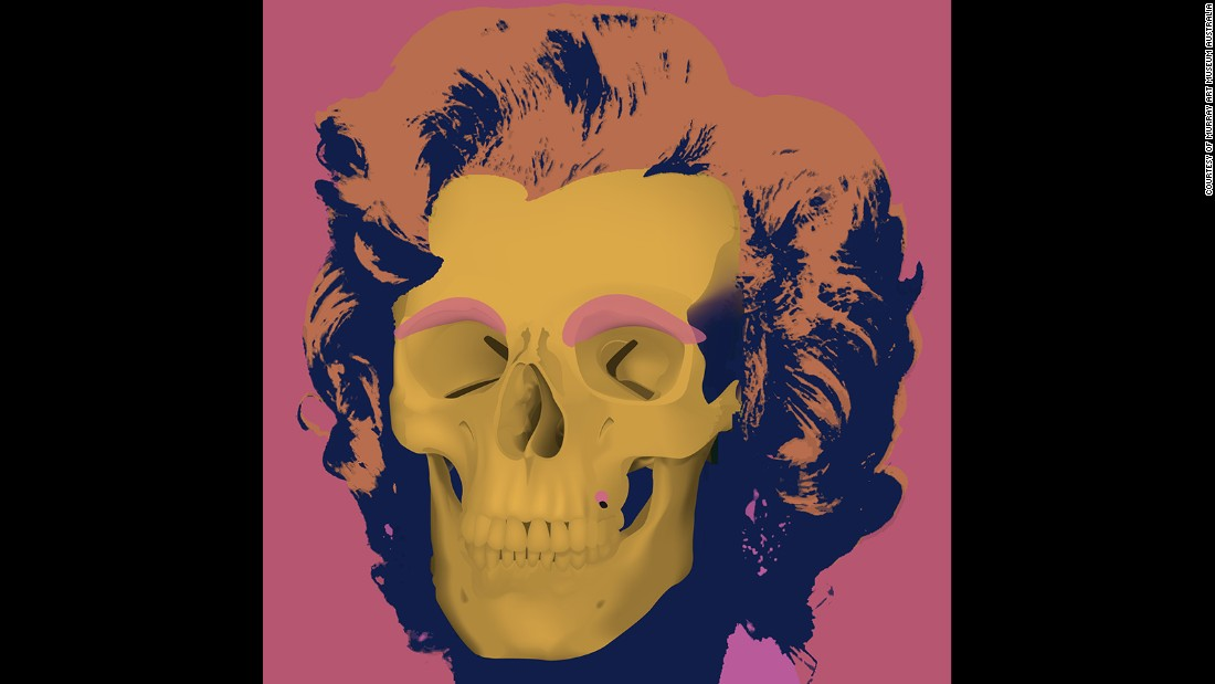 Recalling the famous high color prints of Monroe created by Warhol, artist Heidi Popovic created this skull interpretation in 2008.