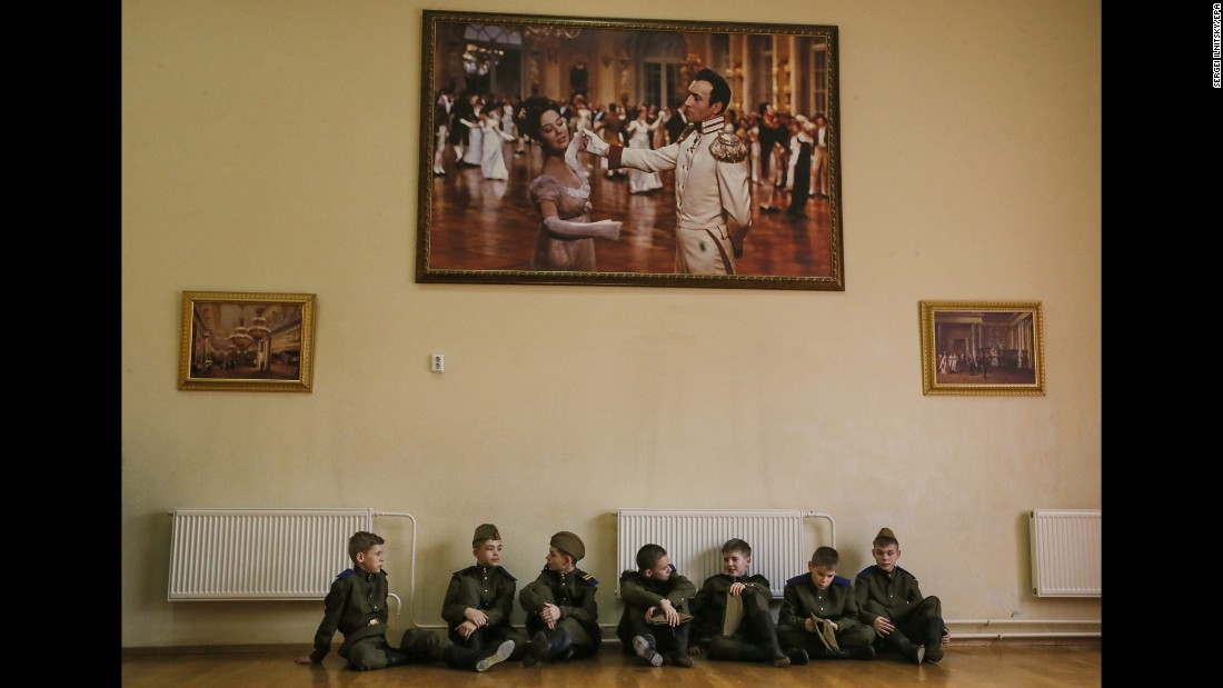 Young cadets sit together at the Moscow Presidential Cadet School on Wednesday, February 17.