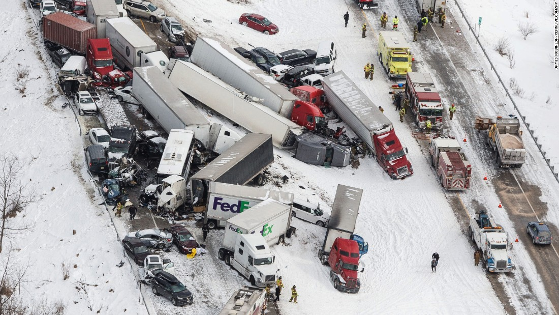 "Vehicles pile up at the site of a fatal crash near Fredericksburg, Pennsylvania, on Saturday, February 13. At least three people were killed and many more were injured when dozens of vehicles <a href=""http://www.cnn.com/2016/02/13/us/pennsylvania-interstate-deadly-pileup/"" target=""_blank"">slammed into each other,</a> officials said. A driver involved told CNN the weather was a prime factor. ""It was definitely a whiteout, I couldn't see any further than probably two city blocks,"" Raoul Jardine said."