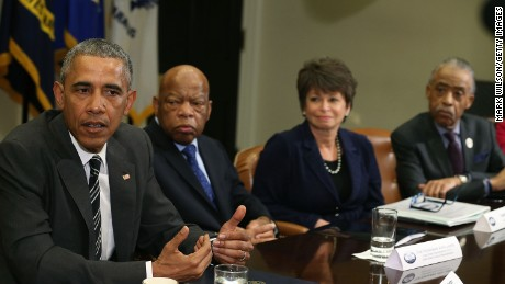 WASHINGTON, DC - FEBRUARY 18: U.S. President Barack Obama (L) speaks about race relations while flanked by (L-R), Rep. John Lewis (D-GA), Senior Advisor Valerie Jarrett, and Rev. Al Sharpton, in the Roosevelt Room at the White House, February 18, 2016 in Washington, DC.  President Obama met with African American faith and civil rights leaders before an event to celebrate Black History Month.  (Photo by Mark Wilson/Getty Images)