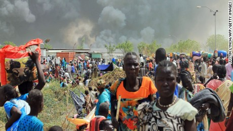 Clashes sent large plumes of smoke rising from burning tents in the camp.