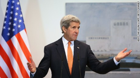 US Secretary of State John Kerry holds a press conference in Tirana on February 14, 2016.