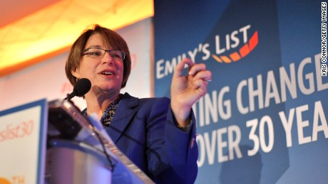 WASHINGTON, DC - MARCH 03:  Senator Amy Klobuchar speaks at EMILY's List 30th Anniversary Gala at Washington Hilton on March 3, 2015 in Washington, DC.  (Photo by Kris Connor/Getty Images for EMILY's List)