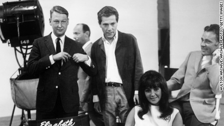"Mike Nichols, George Segal,  Elizabeth Taylor and Richard Burton on the set of ""Who's Afraid of Virginia Woolf?"""