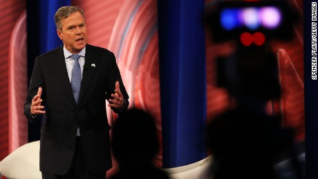 Republican presidential candidate Jeb Bush answers a question in a CNN South Carolina Republican Presidential Town Hall in Columbia, South Carolina.