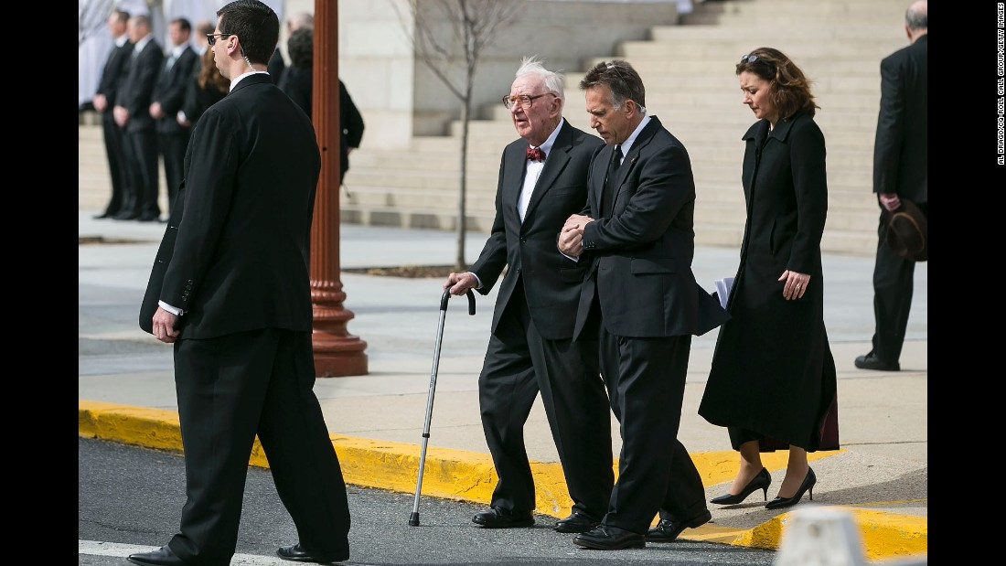 Former U.S. Supreme Court Associate Justice John Paul Stevens departs from the funeral for Scalia.