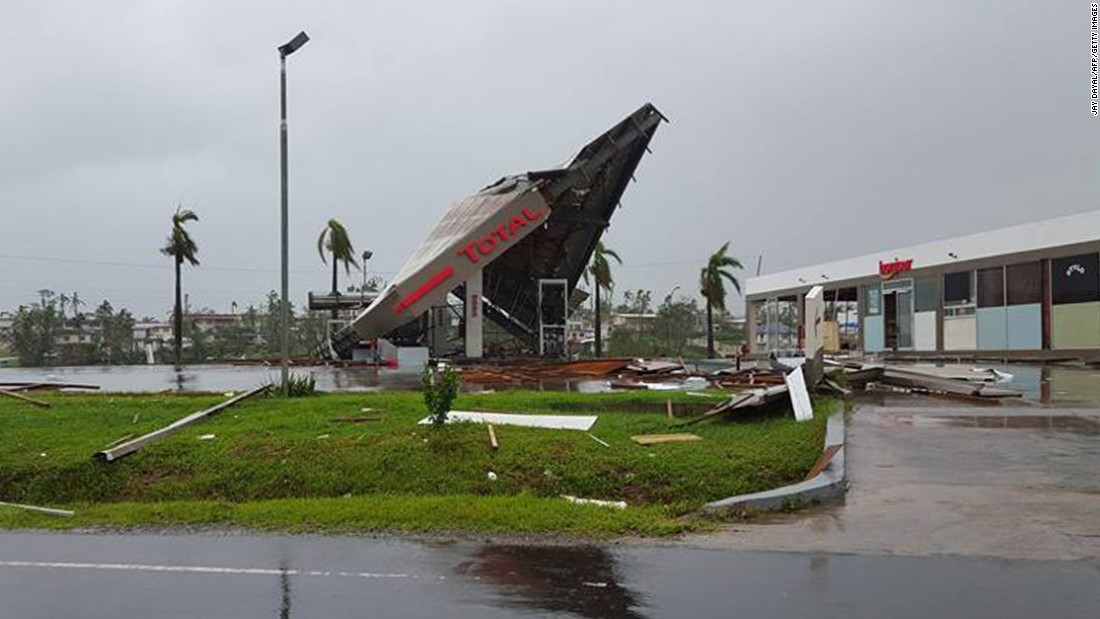 A gas station damaged in the cyclone is seen on February 21 in Ba, Fiji.
