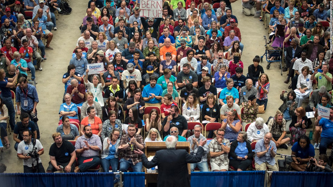 "In July 2015, two months after announcing he would be seeking the Democratic Party's nomination for President, Sanders <a href=""http://www.cnn.com/2015/07/01/politics/bernie-sanders-crowds-wisconsin-2016/index.html"" target=""_blank"">spoke to nearly 10,000 supporters</a> in Madison, Wisconsin. ""Tonight we have made a little bit of history,"" he said. ""You may know that some 25 candidates are running for President of the United States, but tonight we have more people at a meeting for a candidate for President of the United States than any other candidate has."""