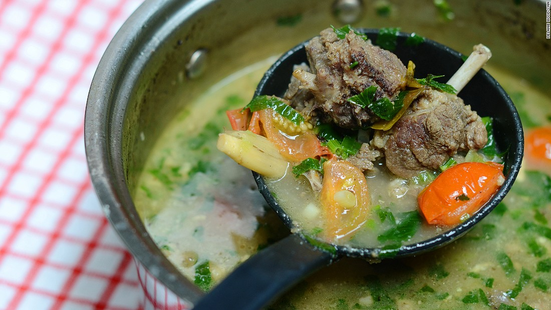 Not that Indonesia needs it, but sop kambing is a comforting hot stew for a cold winter day. The soup is packed with celery, tomato and chunks of goat meat.