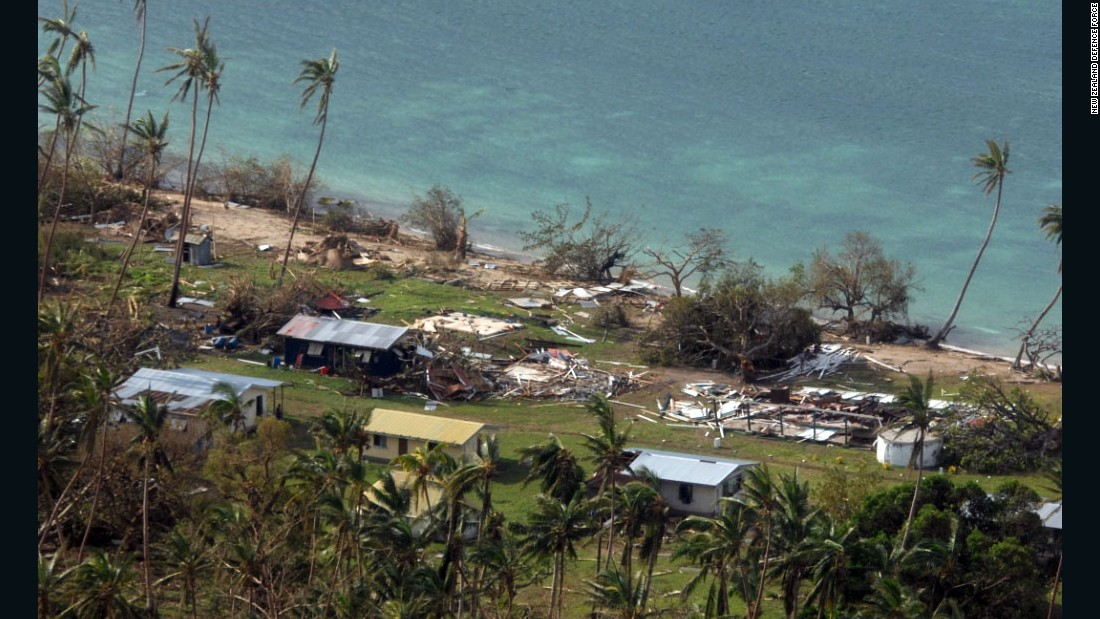 The village of Susui on Fiji's third largest island in a photo provided by the New Zealand Defence Force on February 22.