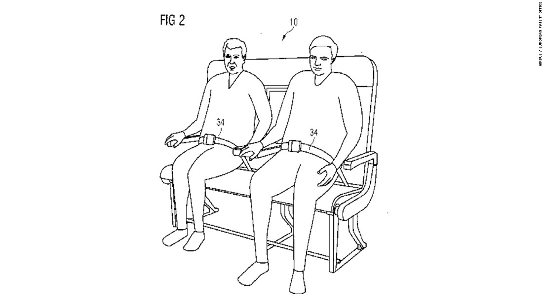 "This month Airbus filed a patent for ""a re-configurable passenger bench seat"" to accommodate passengers of all sizes."