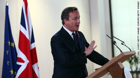 BRUSSELS, BELGIUM - OCTOBER 24:  British Prime Minister David Cameron speaks during a press conference at the end of a two-day European Council meeting at the headquarters of the Council of the European Union on October 24, 2014 in Brussels, Belgium. Alongside criticism from outgoing European Commission president Jose Manuel Barroso on the UKÕs stance on EU immigration and a plan to quit the European Court of Human Rights, the UK has been told to pay an extra 1.7bn GBP (2.1bn EUR) towards the EUÕs budget because its economy has performed better than expected.  (Photo by Carl Court/Getty Images)