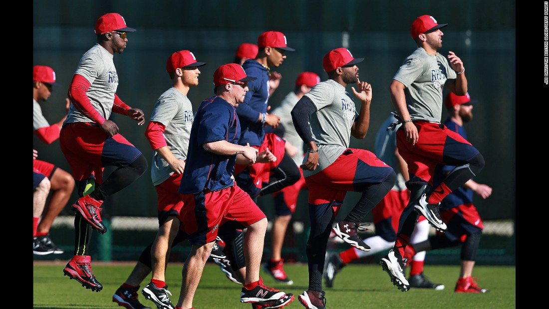 Players from the Boston Red Sox work out in Fort Myers, Florida, on Thursday, February 18. Spring training is officially underway for all major-league teams.