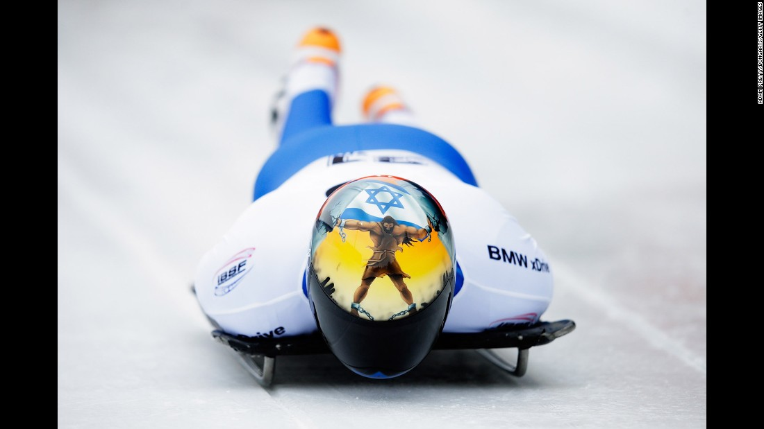 Israel's Adam Edelman completes a skeleton run Thursday, February 18, at the IBSF World Championships in Innsbruck, Austria.