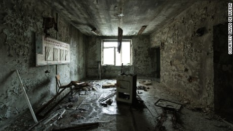 """The oven appears to have exploded in the center of the room and destroyed everything around it,"" said De Rueda of the derelict Pripyat Hospital."