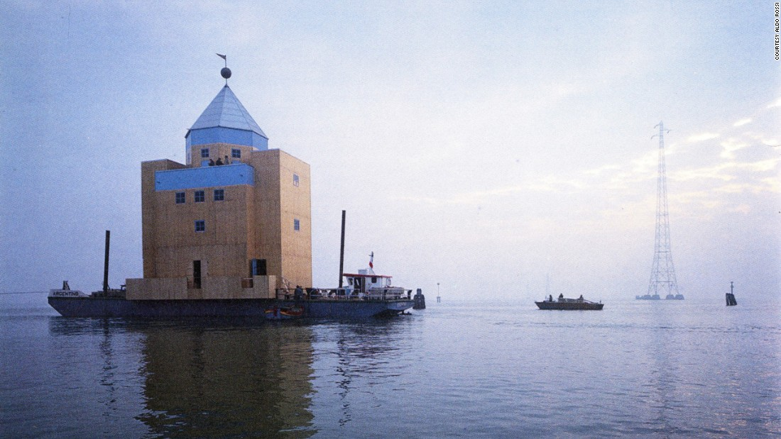 This temporary floating theatre, constructed for the Venice Biennale by architect Aldo Rossi, heralded the arrival of Postmodernism in Venice. I like the idea of an armada or floatilla, moving in to show the new way. This was a fleeting, but influential statement.