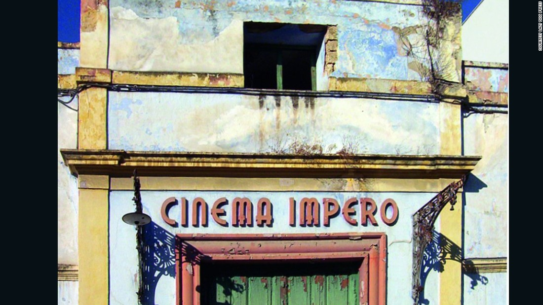 Art deco letters on the Cinema Impero in Manfredonia (Foggia) awaiting demolition.