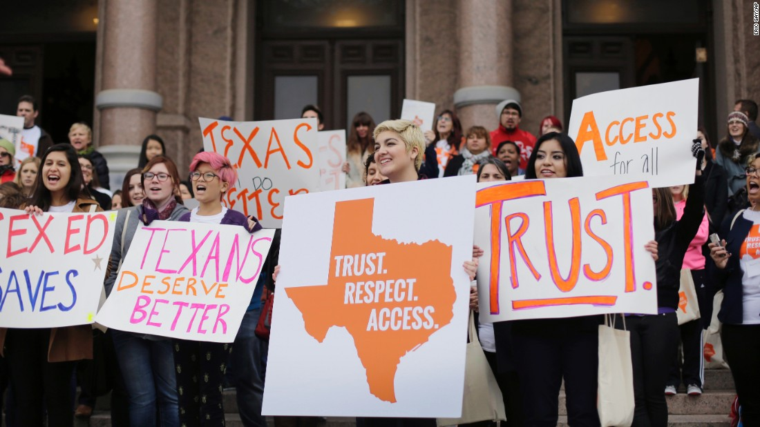 The following month, college students and abortion-rights activists rallied on the steps of the Texas Capitol as the legislature met on February 26, 2015.