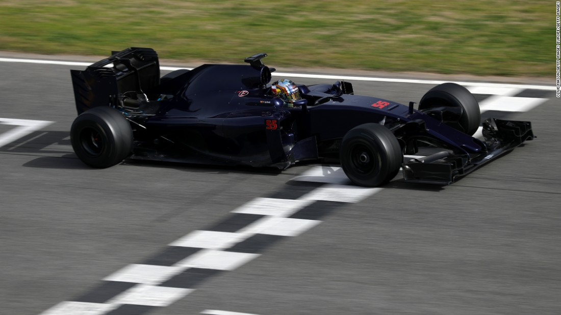 Carlos Sainz Jr crosses the line in winter testing but the new Toro Rosso car is far from finished. The Italian team are yet to unveil the new livery for the car.