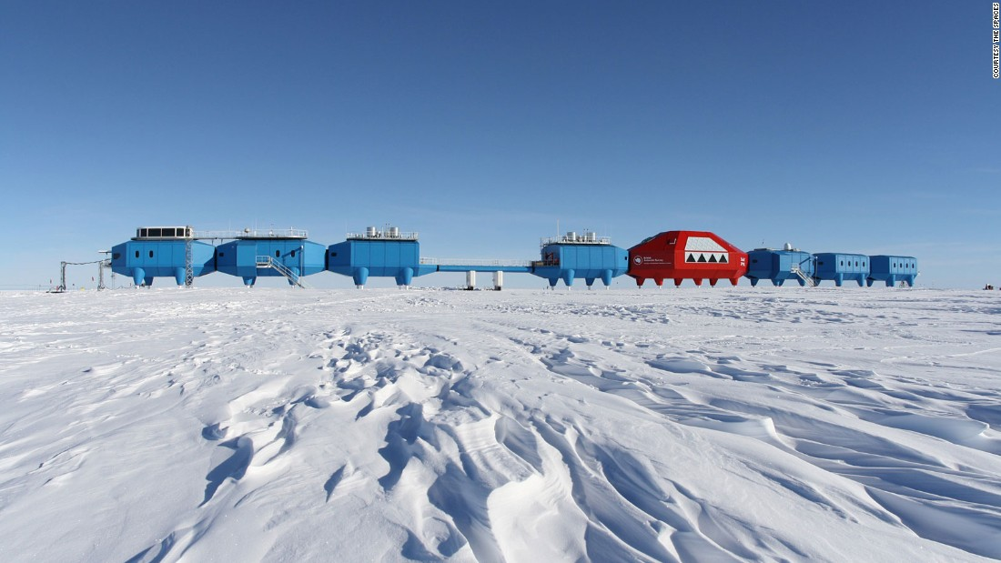 "The British Antarctic Survey commissioned this self-sufficient scientific research base on hydraulic stilts that walks the ice shelf like a blue and red centipede. The legs mechanically climb out of the deepening snow and ski feet allow each module to be towed to new locations in the event of ice fracture. Planted 900 miles from the South Pole and fully operational, the design won <a href=""http://www.hbarchitects.co.uk/"" target=""_blank"">Hugh Broughton Architects</a> a prestigious RIBA International Award in 2013."