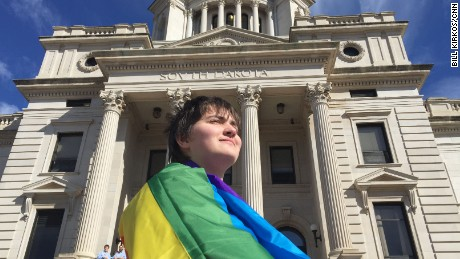 Transgender student Thomas Lewis met with South Dakota Gov. Dennis Daugaard Tuesday  at the state capitol.