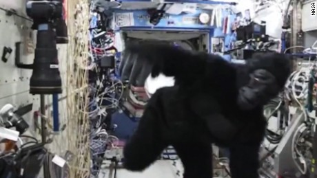 Astronauts monkey around in space