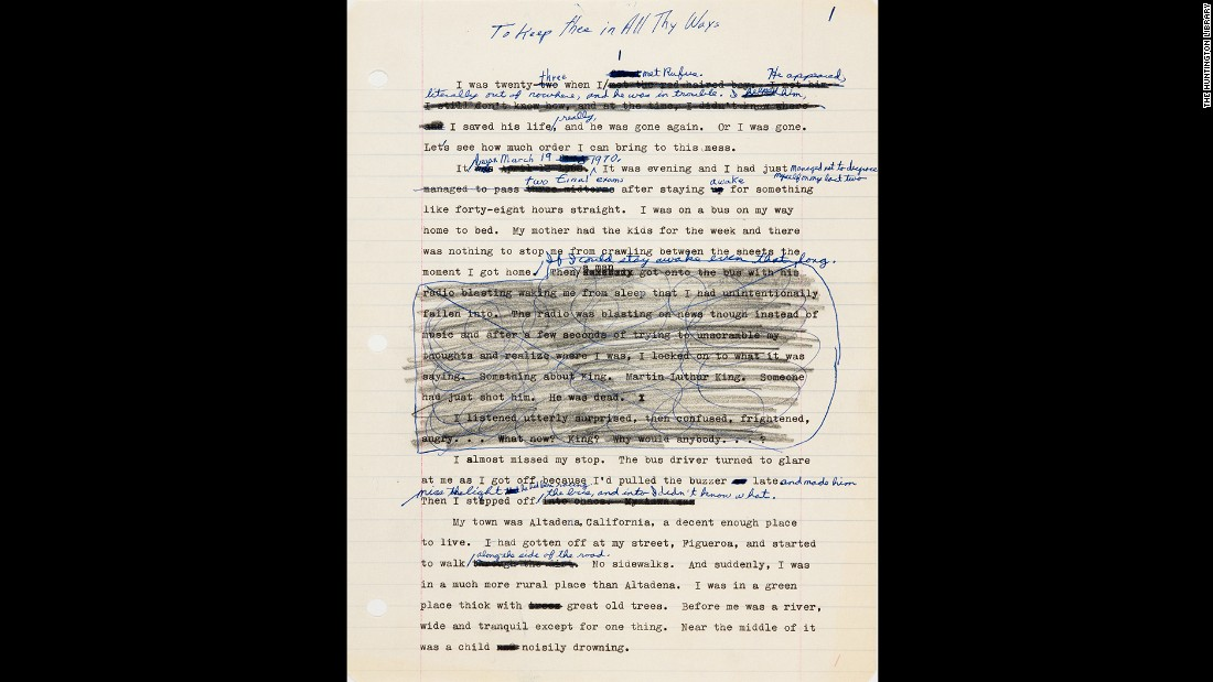 "With the publication of ""Kindred"" in 1979, Butler was able to support herself writing full-time. The book was initially titled ""To Keep Thee in All Thy Ways,"" from Psalms 91:11. A draft is stored in her archive at the Huntington."