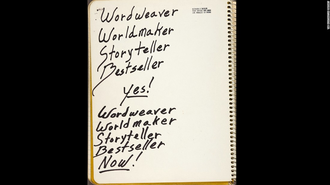 "Butler scrawled notes, literary passages and everyday to-do lists in a series of ""commonplace books."" This page of affirmations comes from a 1987 book collected among her papers at the Huntington Library, Art Collections, and Botanical Gardens."