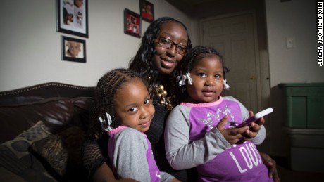 Tromeshia Horton's sister, Shameka Johnson, was shot dead in front of Johnson's house in Flint in 2012, when her girls, Brayla, left, and Kayla, were infants.