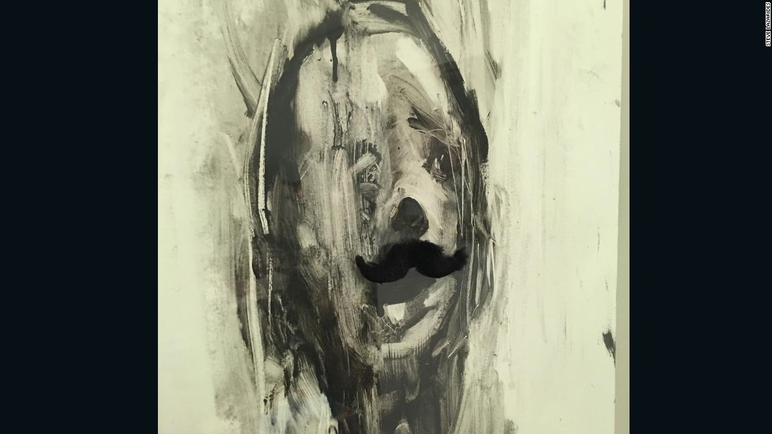 """My kids have absolutely no respect for the artworks or the artists behind them in my house. You can tell by the addition of this wonderful moustache to an Antony Micallef painting hanging in my house."""