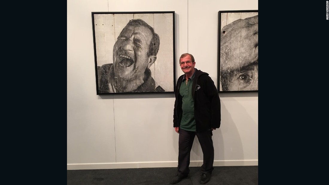 """This wonderful old chap turned up at our Lazarides stand at Contemporary Istanbul last year. Several confused hours and lots of laughter later, we found out he was the model for the JR painting hanging in the show."""