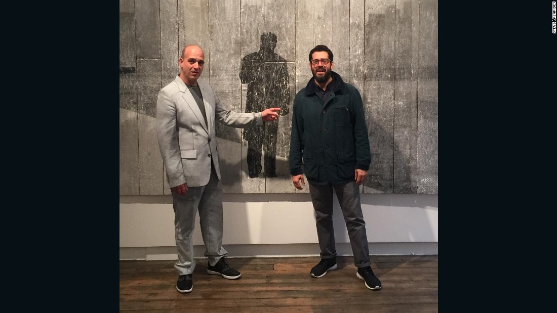 """Before the opening of the same JR show, our mutual friend José Parlá was in town and stopped by early to see us both. It was a great pleasure."""